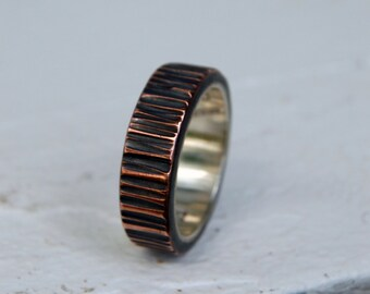 TREE BARK TEXTURE 8mm Copper and Silver Ring - Architectural Ring - Copper Ring - Wedding Band - Unisex Style