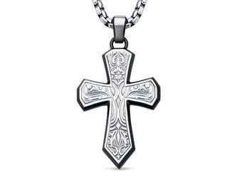 Bold Pattern Cross Pendant Necklace