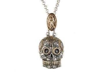 Large Sugar Skull Pendant Necklace