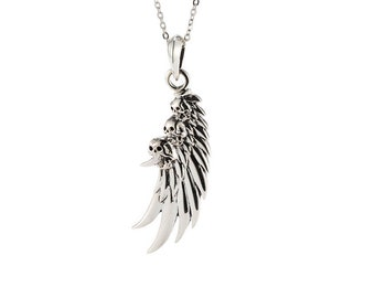 Wing with Skulls Pendant Necklace