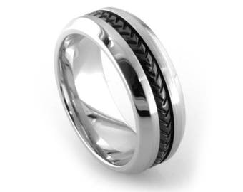 Polished Cobalt Band Ring with Black Titanium Weave
