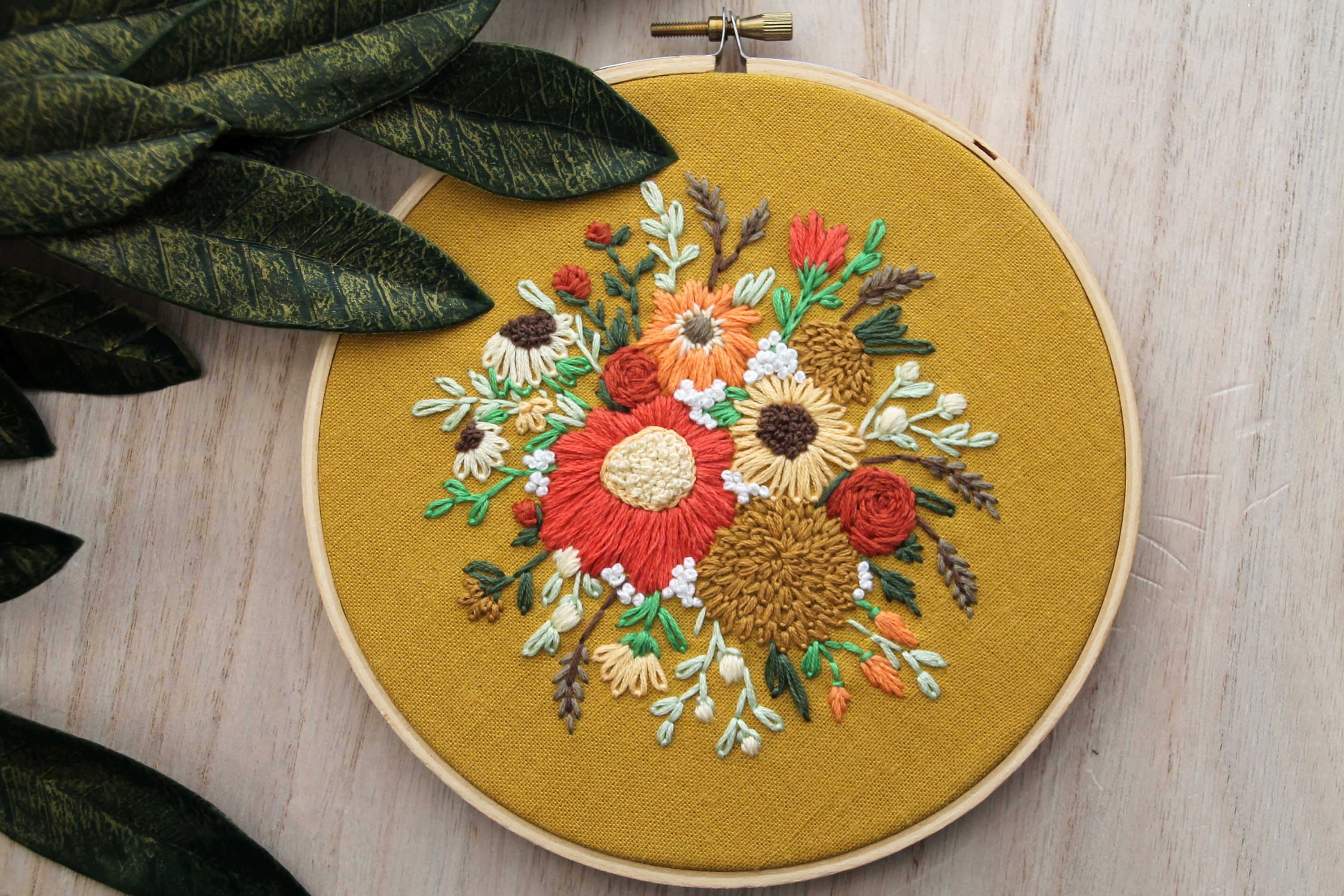 Hand Embroidered Wall Hanging Floral Bouquet Embroidery Hoop | Etsy