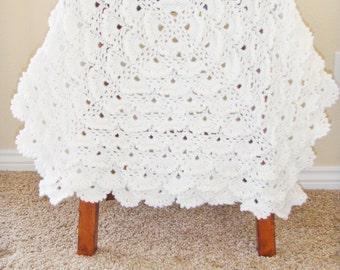 White Crochet Baby Blanket - Christening Blanket - Baptism Blanket - Baby Shower Gift - Crochet Lace Afghan - Hand Made Baby Blanket