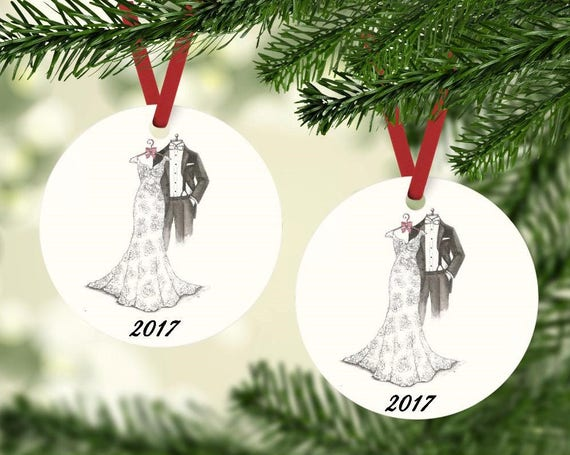 image 0 - Bride And Groom 2017 Christmas Tree Ornament Bridal Shower Etsy