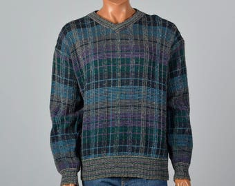 3d6bf62dbd73ae XL 1980s Missoni Uomo Mens Plaid Sweater Long Sleeve Pull Over Sweater V  Neck Mens Separates Menswear 80s Vintage