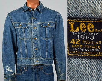 8b0ffcd28e Large 1950s Mens Lee Denim Jacket Sanforized Cotton 101-J Pockets  Distressed Vintage 50s Blue Jean Coat