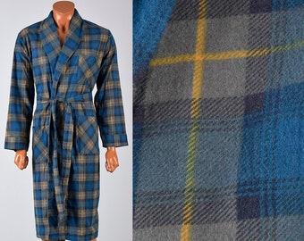 Deadstock Robe Mens Robe 60s Robe Flannel Robe All Cotton Robe All Cotton  Flannel Plaid Robe Smoking Robe Mid Century Mens Loungewear Medium 7a3b73fae