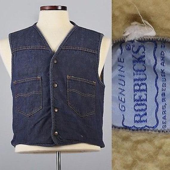 1960s – 70s Men's Ties | Skinny Ties, Slim Ties Medium 1970S Mens Denim Vest Boho Hippie Jean Snap Front Faux Shearling Lined Chore Workwear 70S Vintage $51.75 AT vintagedancer.com