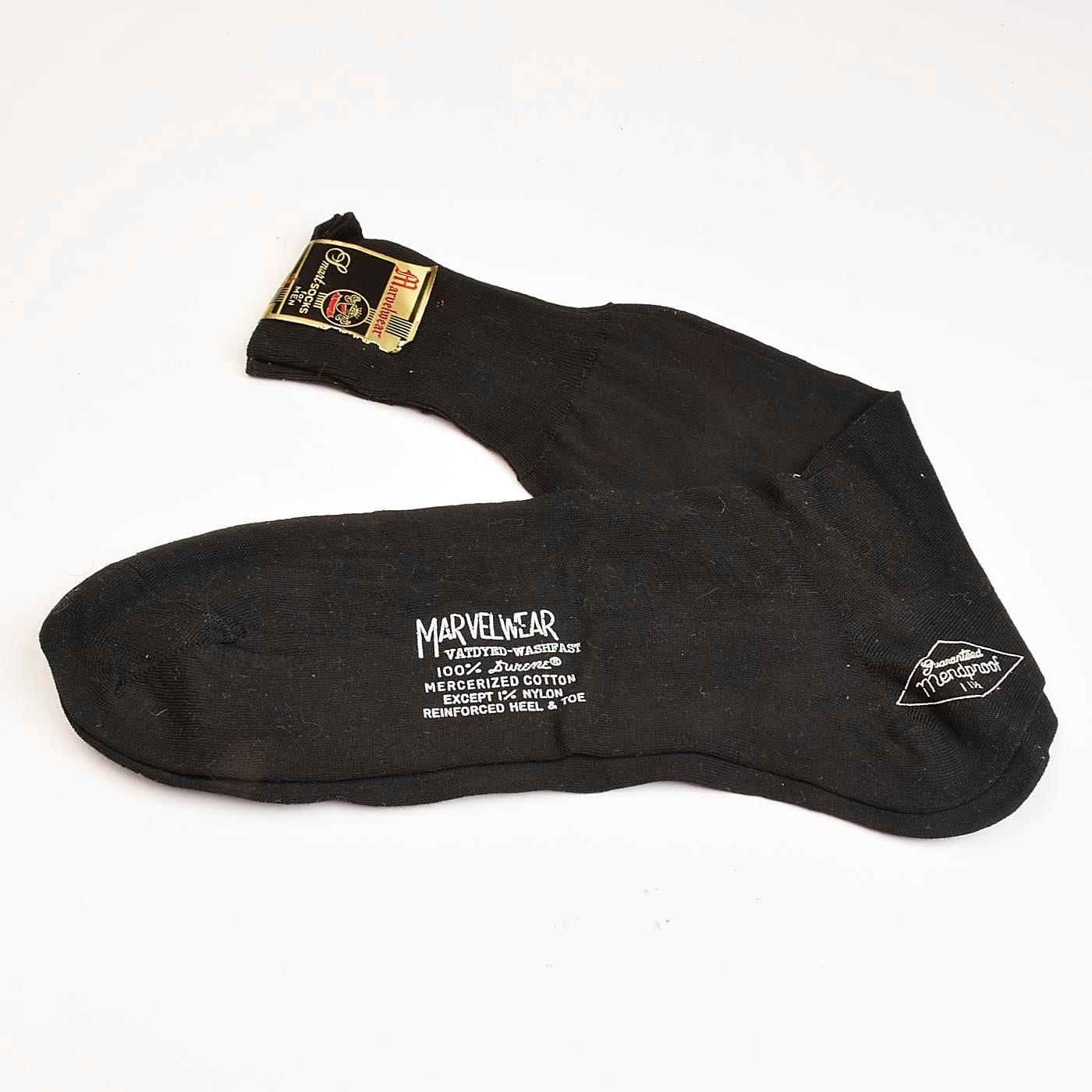 1950s Mens Hats | 50s Vintage Men's Hats 1950S Deadstock Mens Marvelwear Cotton Socks Black Reinforced Heel Rib Knit Top Mend Proof Lightweight 50S Vintage $0.00 AT vintagedancer.com
