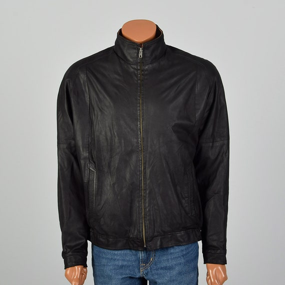 Large Mens Remy 1990s Leather Jacket Black Bomber