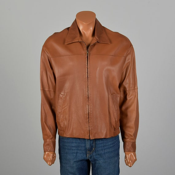 Large Mens Jose Luis Leather Jacket Brown Bomber L