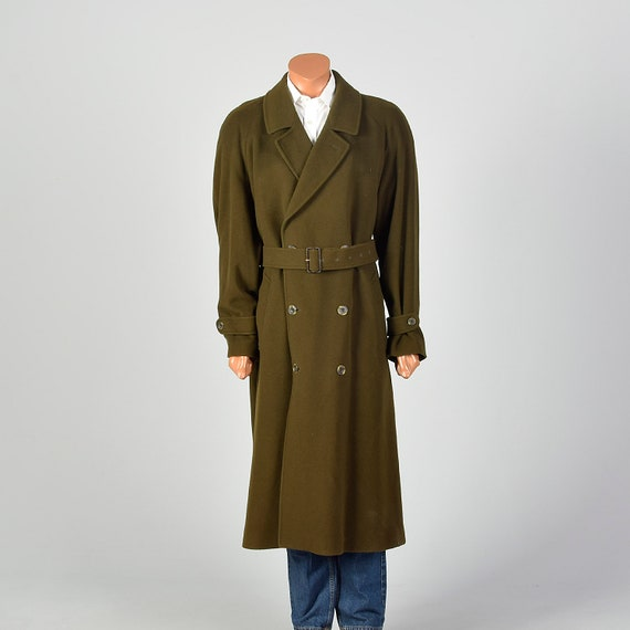 XL 1980s Mens Coat Long Wool Trench Coat Belted Do