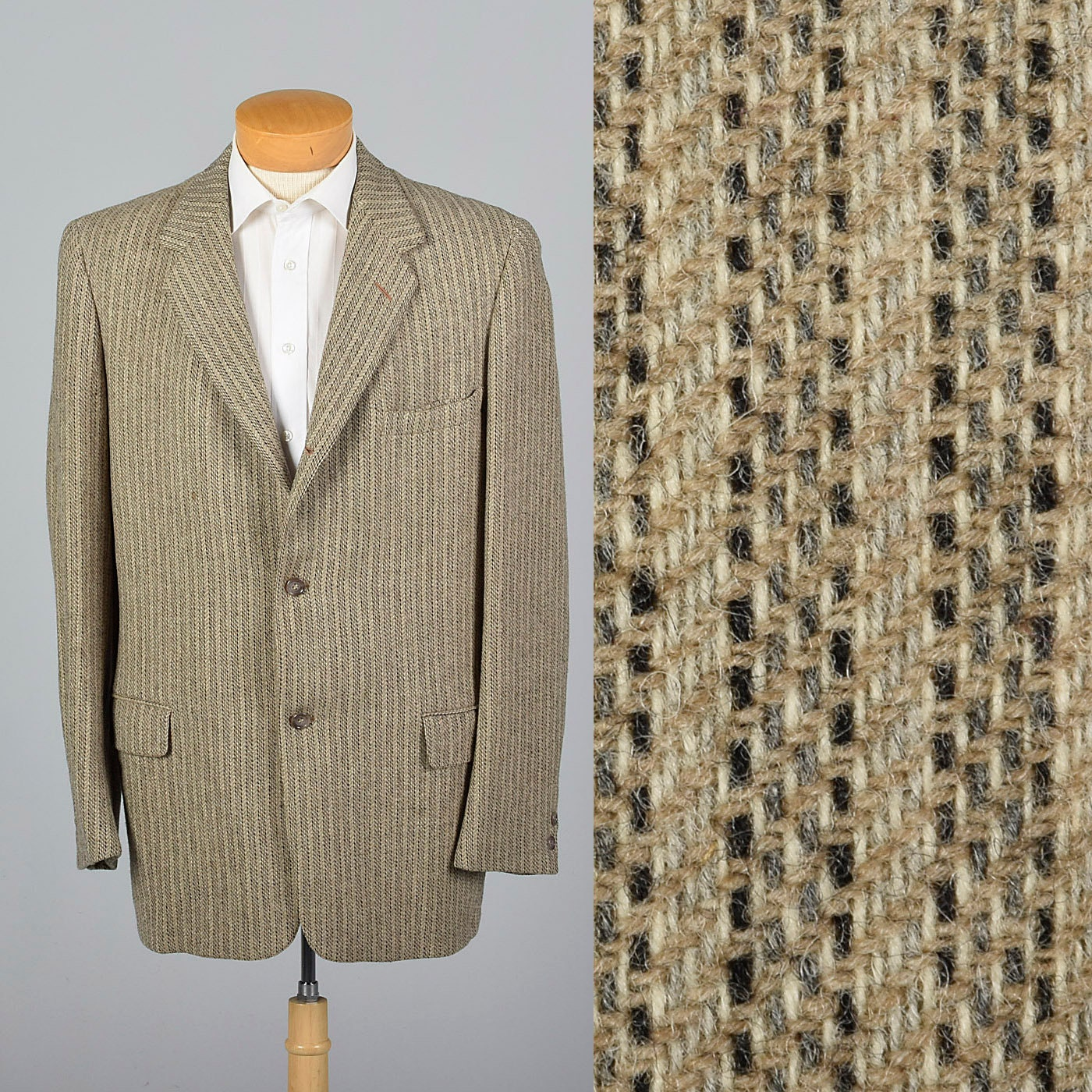 1950s Mens Hats | 50s Vintage Men's Hats xl 44L 1950S Mens Tan Tweed Striped Sportcoat Single Vent Medium Lapels Convertible Pockets 50S Vintage Jacket $0.00 AT vintagedancer.com