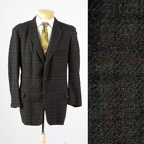 1950s Mens Hats | 50s Vintage Men's Hats Mens Vintage 50S Charcoal Green Tweed Windowpane Jacket Blazer Sportcoat 44R 440 $0.00 AT vintagedancer.com
