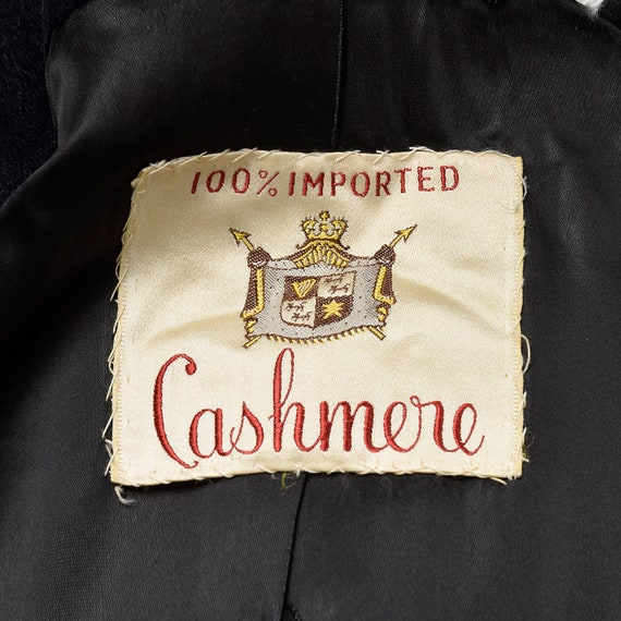 42 Large 1950s Mens Coat Black Cashmere Overcoat … - image 9