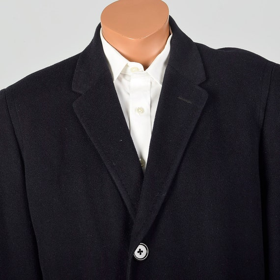 42 Large 1950s Mens Coat Black Cashmere Overcoat … - image 6