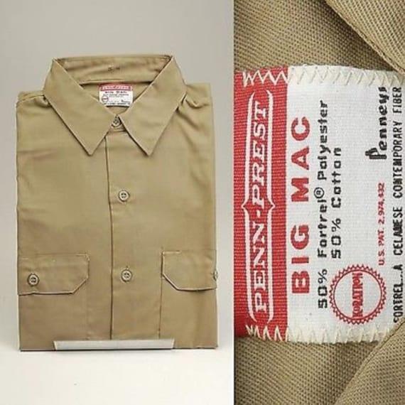 1970s Men's Shirt Styles – Vintage 70s Shirts for Guys Nos Deadstock Vintage Mens 70S Big Mac Penneys Khaki Gabardine Work Wear Shirt Long Sleeve Penn Prest $51.75 AT vintagedancer.com