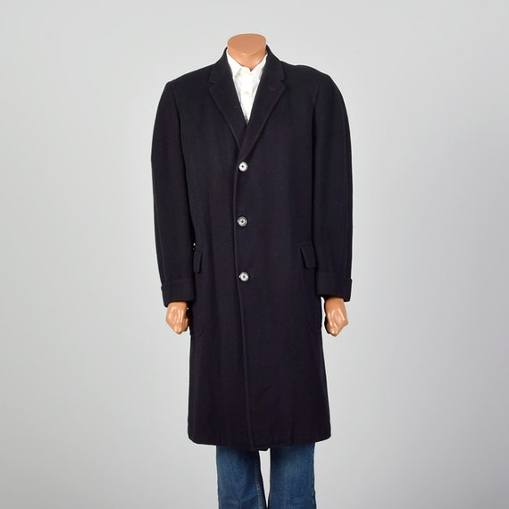 42 Large 1950s Mens Coat Black Cashmere Overcoat … - image 1