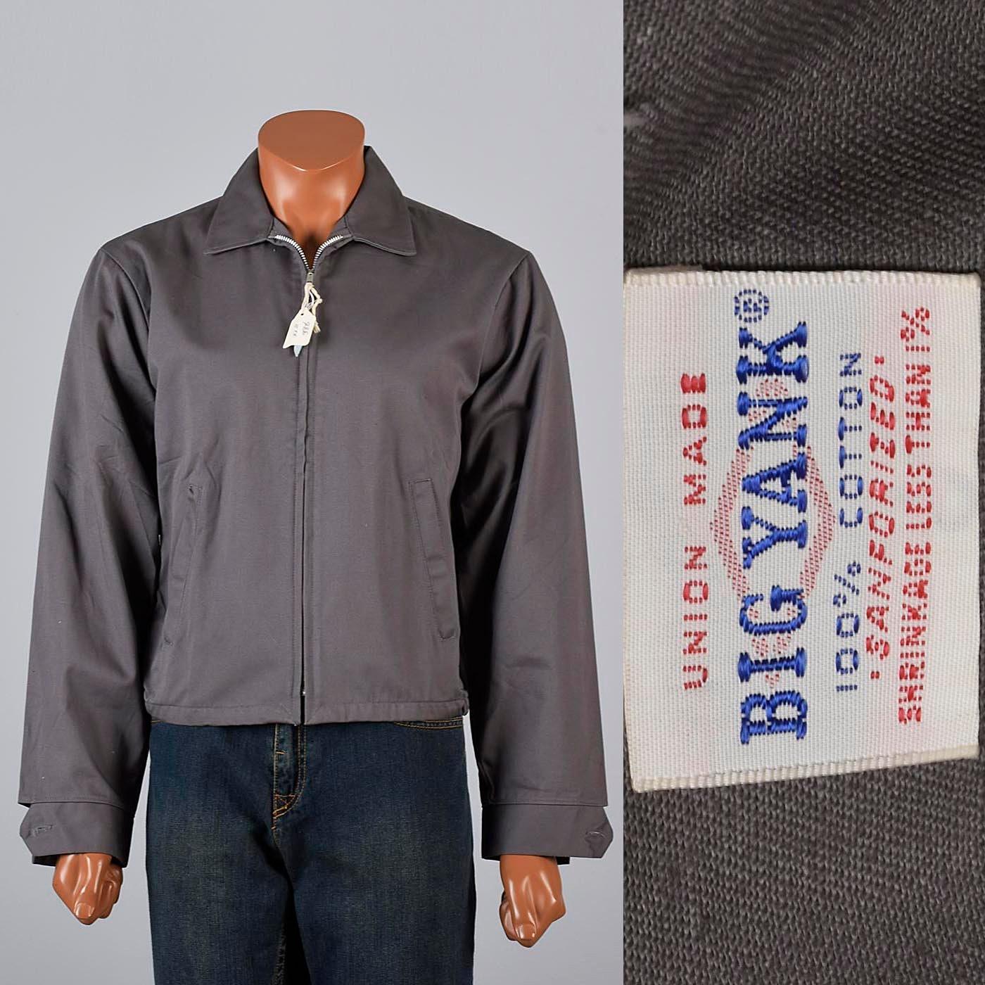 1950s Mens Hats | 50s Vintage Men's Hats Deadstock Jacket 50S Sanforized Cotton Big Yank Workwear Mens Casual Gray Metal Zip 100 Twill $0.00 AT vintagedancer.com