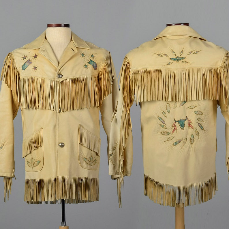 cd3dc08ae Small One of a Kind Jos Binne Deerskin Leather Mens Jacket Handmade Native  American Western Fringe Coat with Pyrography Designs