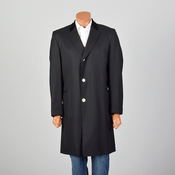Medium 1950s Mens Black Coat Lightweight Formal Ev