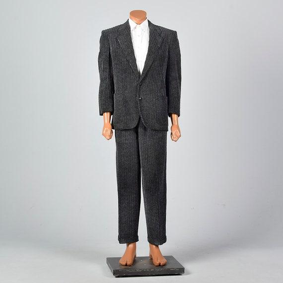 41S 1980s Mens Suit Medium Charcoal Corduroy 2 Pie