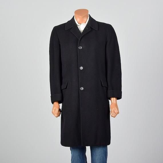 Medium 1950s Mens Winter Top Coat Single Vent Heav