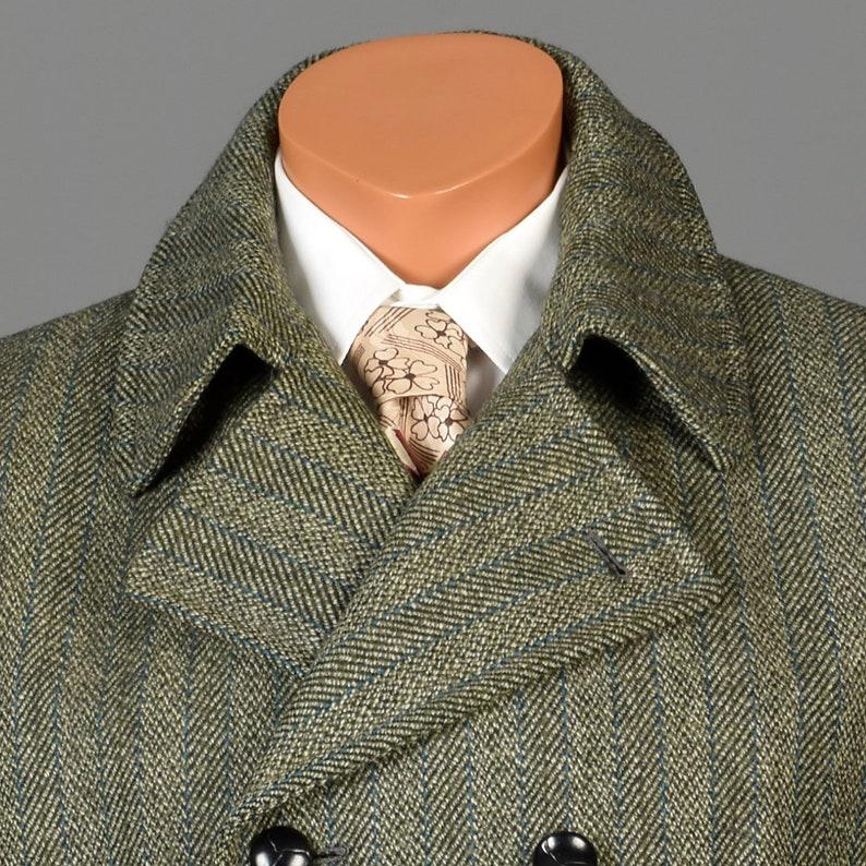Vintage 70s Mens Mod Tweed Winter Coat Double Breasted Green Stripe Blue Pinstripe 40