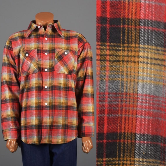 2XL XXL 1960s Flannel Shirt 60s Deadstock Flannel