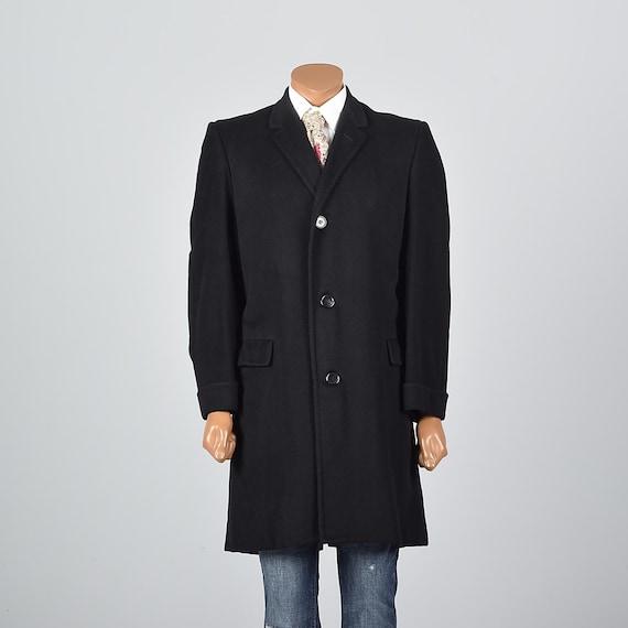 Medium Mens Cashmere Top Coat Black Overcoat 1950s