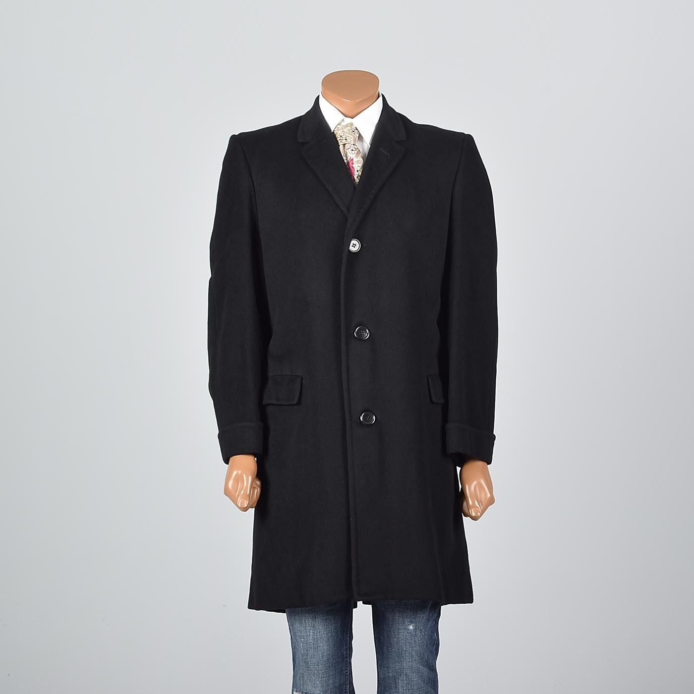1950s Mens Hats | 50s Vintage Men's Hats Medium Mens Cashmere Top Coat Black Overcoat 1950S 50S Slim Lapel Mid Century Winter Fall Spring Vintage Formal $0.00 AT vintagedancer.com