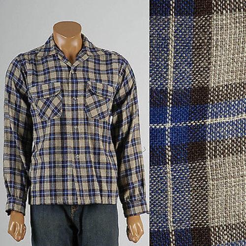 1950s Mens Hats | 50s Vintage Men's Hats Mens Vintage 50S Wool Plaid Loop Collar Board Shirt Pilgrim Chest Pockets Woven $0.00 AT vintagedancer.com