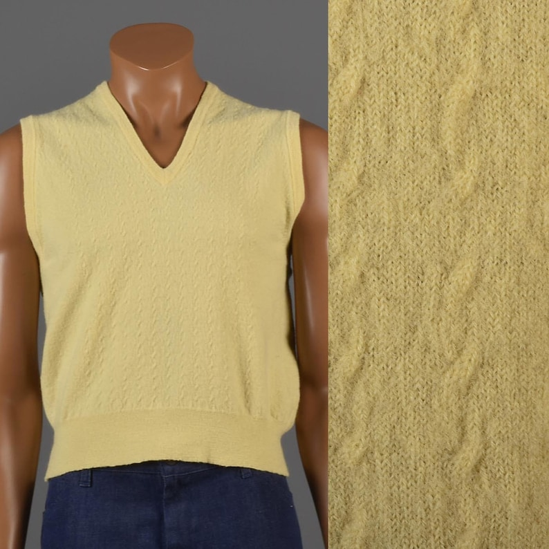 b754131b87 Medium 1980s Mens Knit Vest Merino Wool Sweater Vest Pastel Yellow Textured  Knit V-Neck Ivy League 80s Vintage