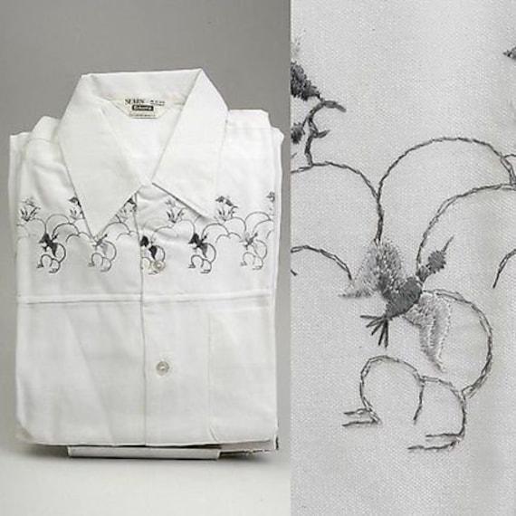 1950s Men's Ties, Bow Ties – Vintage, Skinny, Knit Medium Mens 1950S Shirt White Loop Collar Embroidered Birds Square Bottom Up Long Sleeve Deadstock $326.02 AT vintagedancer.com