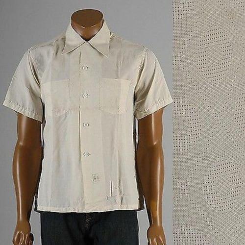 1940s Men's Shirts, Sweaters, Vests Mens Vintage 40S Nos Deadstock Mark Twain Pleisure Shirt Loop Collar Short Sleeve $0.00 AT vintagedancer.com