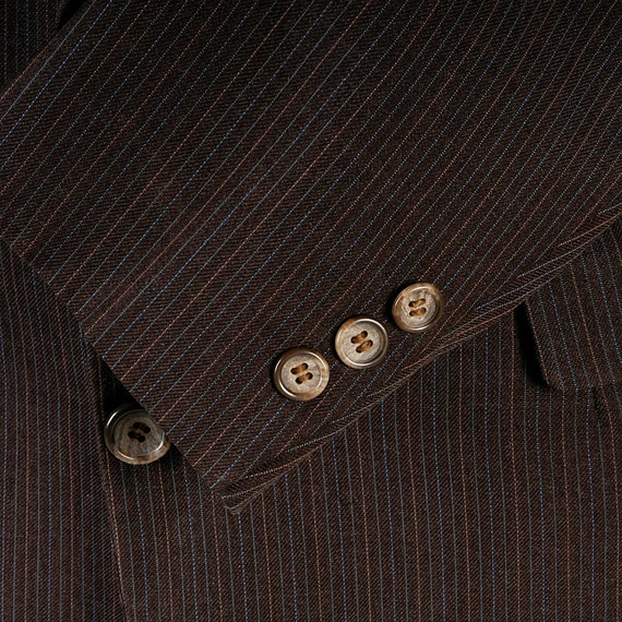 70s Short Vintage Cardim Pierre Brown Blazer Jacket Jacket Pinstripe Sportcoat Blazer Jacket Blazer Jacket 40S Designer Mens Brown Jacket 4SqwFwY