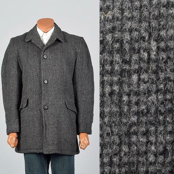 42L 1950s Mens Black Gray Wool Car Coat Winter Ove