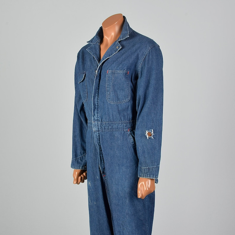 XL 1960s Mens Zip Front Coveralls Distressed Denim Workwear Patch Pockets Snap Cuff Belted 60s Vintage Blue Jean Overall