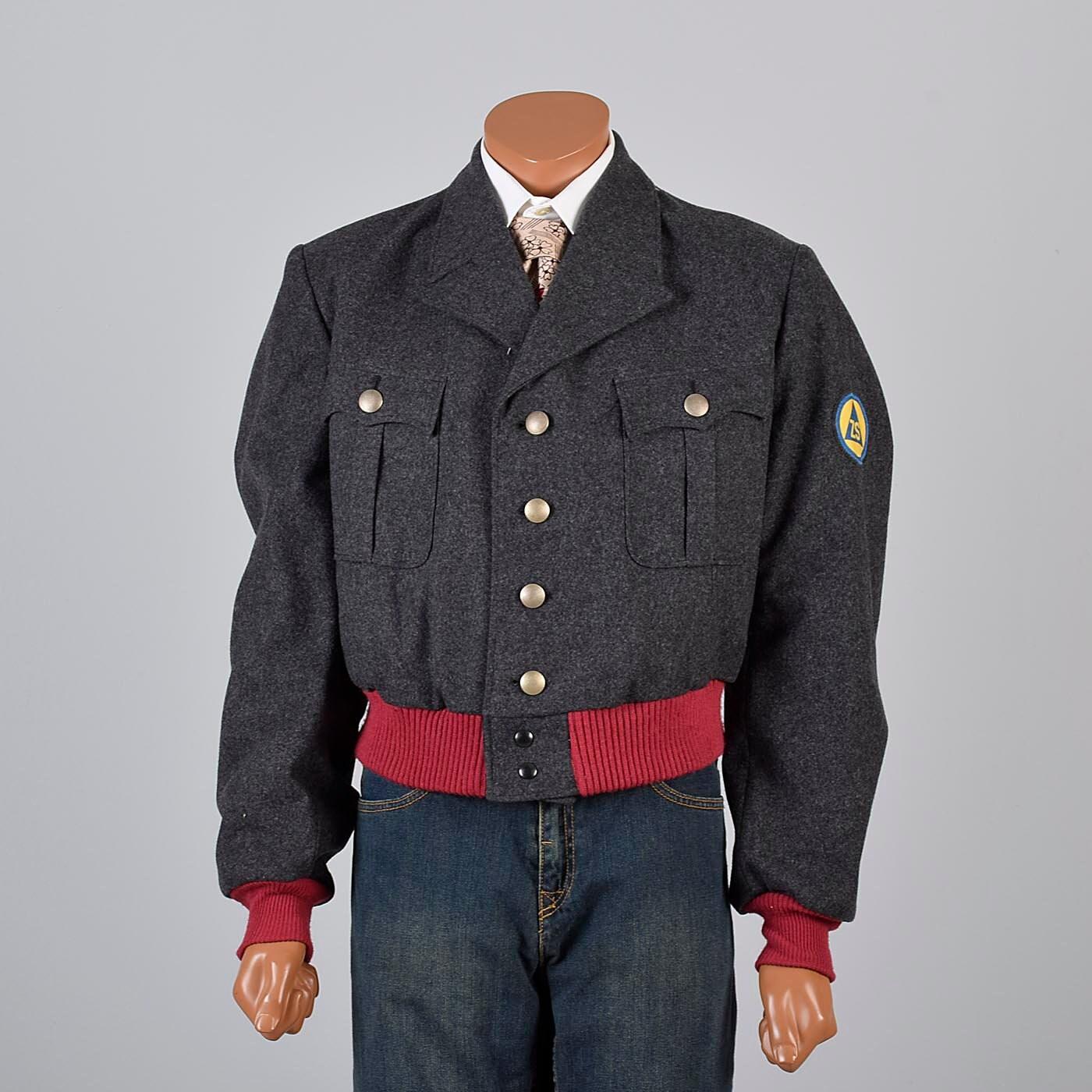 1960s – 70s Men's Ties | Skinny Ties, Slim Ties Mens Vintage 60S Gray Wool German Military Bomber Style Jacket Ribbed Knit Cuffs Waistband Burgundy $129.37 AT vintagedancer.com