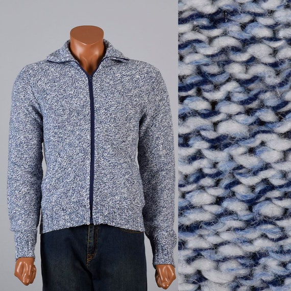 Mens Vintage 60s Mod Blue White Knit Sweater Cordu