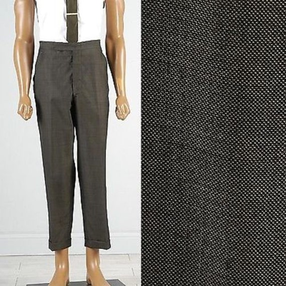 1960s – 70s Men's Ties | Skinny Ties, Slim Ties Mens Vintage 60S Unusual Silver Gray Tan Sharskin Pants Flat Front Tapered Leg Cuff 37x27 $62.10 AT vintagedancer.com