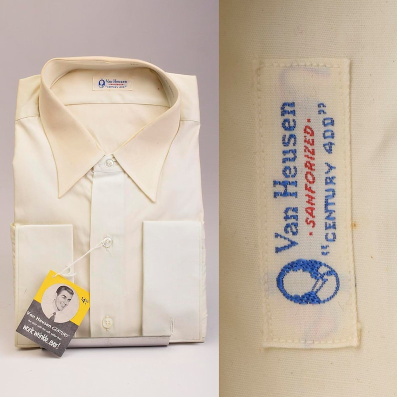 1950s Deadstock Mens Cotton Dress Shirt Long Sleeve French Cuffs Single Pocket 50s Vintage Button Down