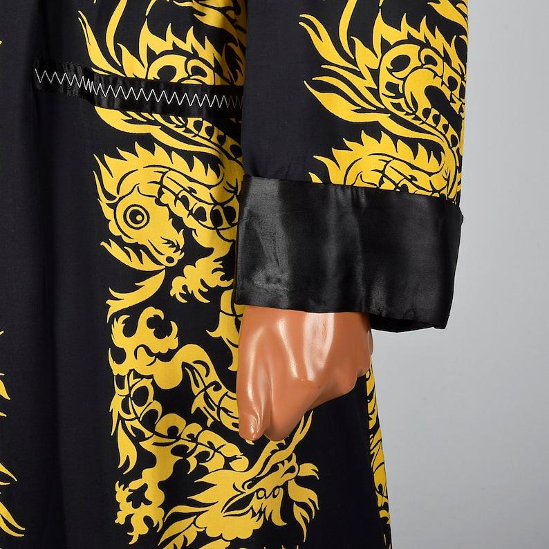 Large 1950s Mens Deadstock Robe Gold Dragon Print Loungewear Lounge Wear Sleepwear Dressing Robe 50s Vintage