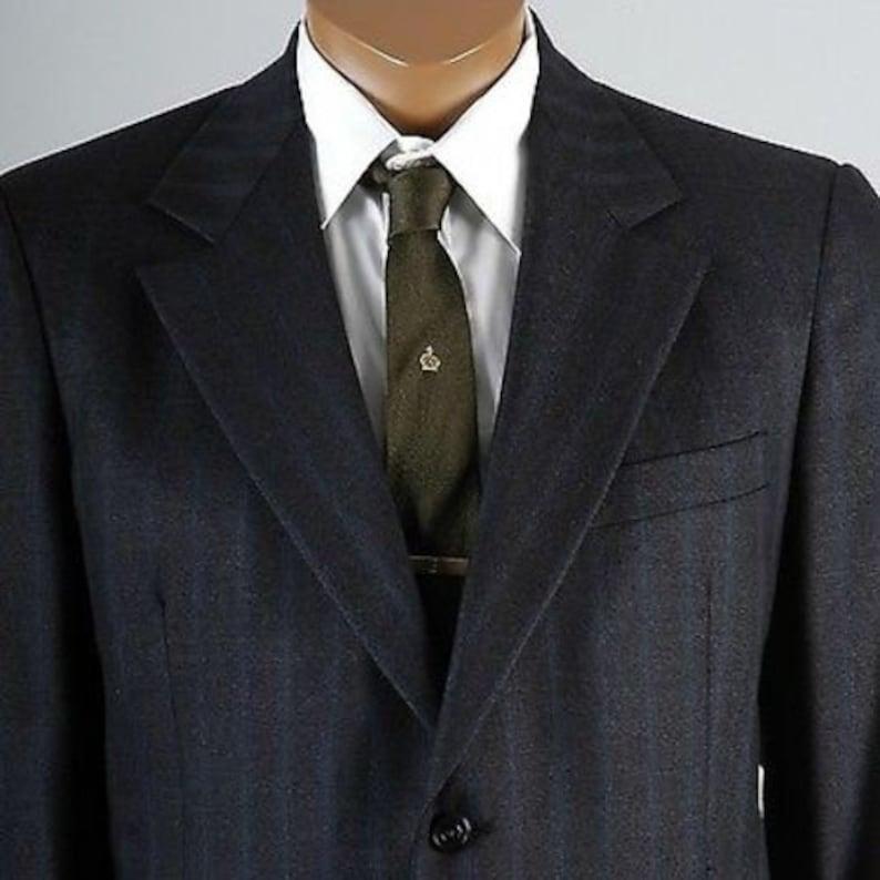 Mens Vintage 70s Hart Schaffner Marx Charcoal Blue Tan Stripe Two Piece Suit Jacket Pants Wool 40 40R 40S