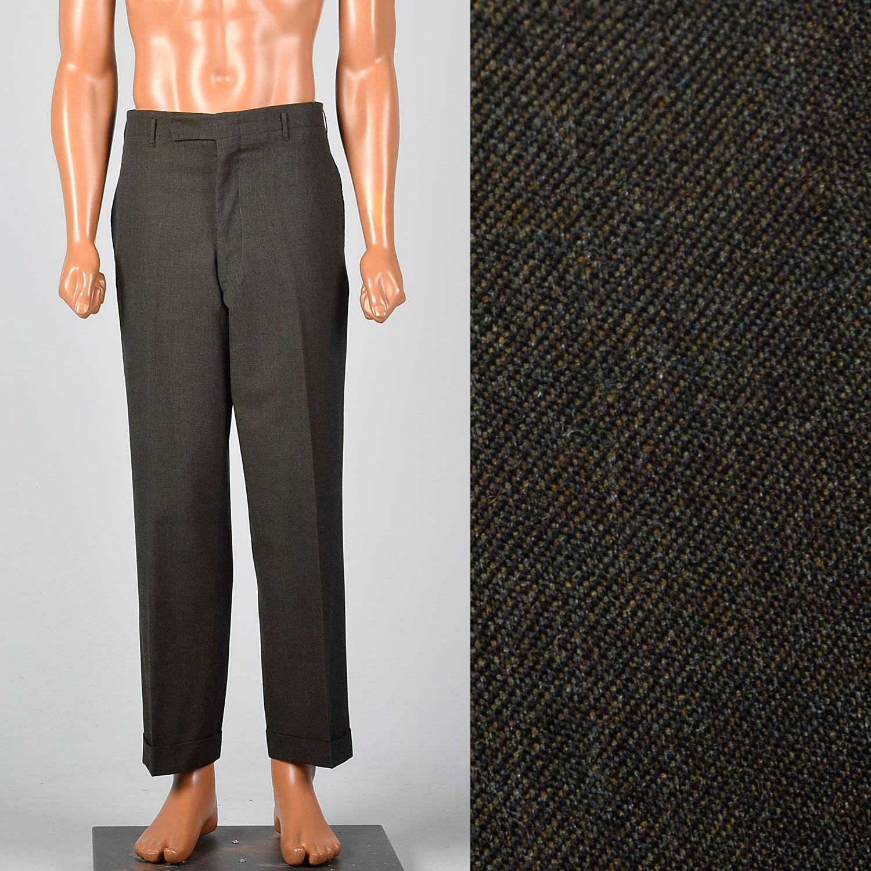 1960s – 70s Men's Ties | Skinny Ties, Slim Ties Medium 1960S Mens Dark Gray Pants Flat Front Tapered Leg Pockets Cuffed Hem 60S Vintage Slacks $93.15 AT vintagedancer.com