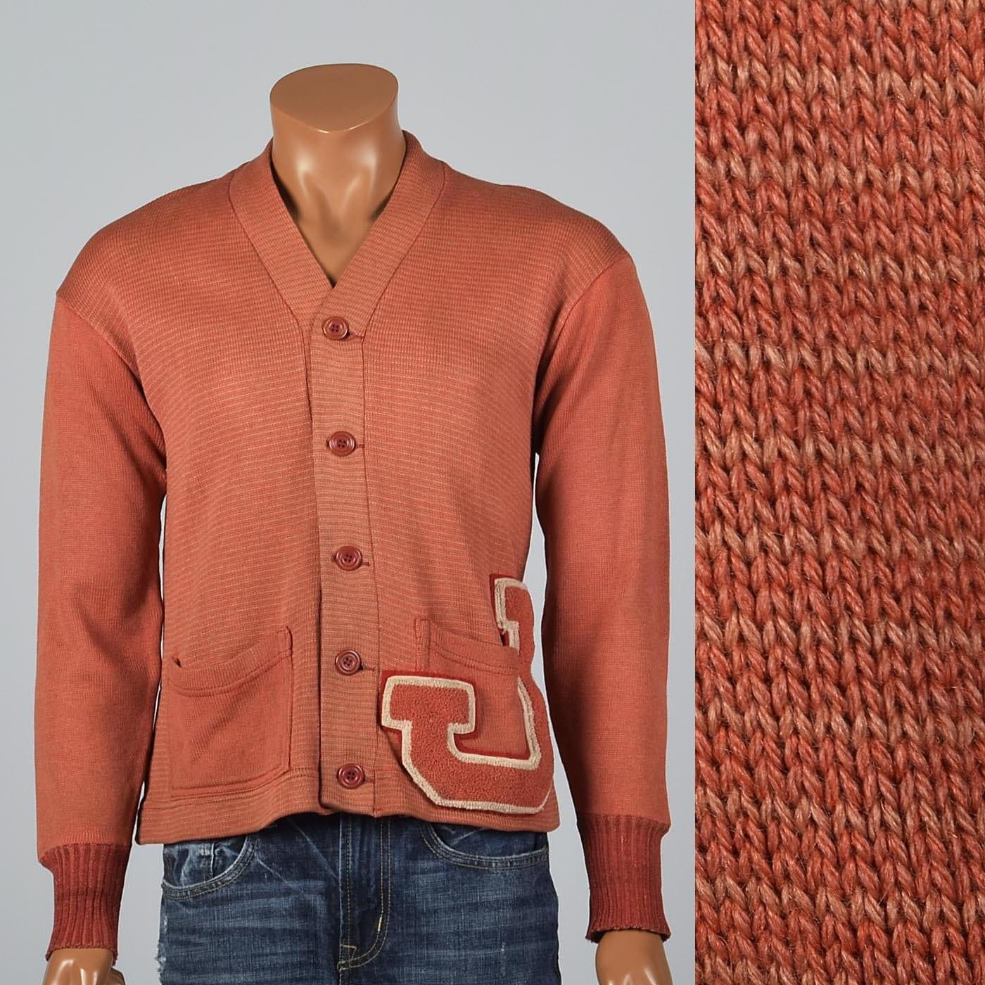 New 1930s Mens Fashion Ties Medium 1930S Cardigan Sweater 30S Letterman Wool Knit J Patch University Campus Athletic Preppy Vintage Man Mens Ivy League $0.00 AT vintagedancer.com
