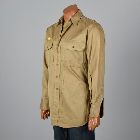 WW2 Flap Long 1940s Ruptured Military Khaki Patch Uniform with 1940s Large Sleeve US Duck Gas Mens Vintage Button Down Shirt F07Pwqqdx