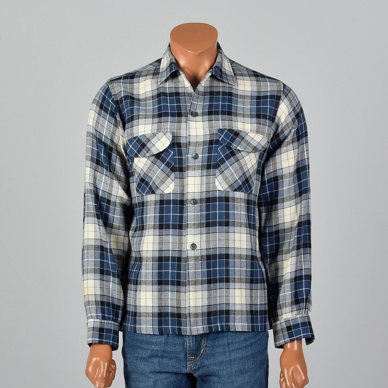 1950s Mens Hats | 50s Vintage Men's Hats Large 1950S Mens Plaid Board Shirt Long Sleeves Flap Pockets Loop Collar Square Bottom Wool Blend 50S Vintage $0.00 AT vintagedancer.com