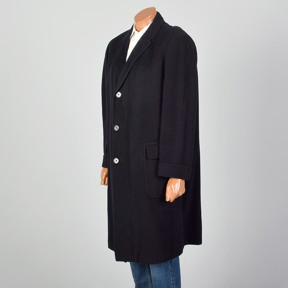 42 Large 1950s Mens Coat Black Cashmere Overcoat … - image 2