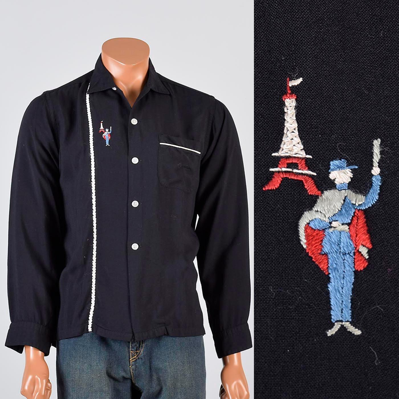 1950s Mens Hats | 50s Vintage Men's Hats Palm Springs 50S Shirt Mens Novelty Eiffel Tower Paris Black Loop Collar Long Sleeve Rockabilly 15 15.5 $0.00 AT vintagedancer.com